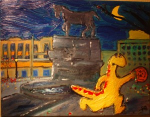 First oil painting of Dinosaur in Waterbury running past the Carrie Welton Fountain